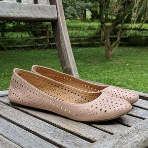 Lucky Brand Emelisa Blush Pink Leather Flats